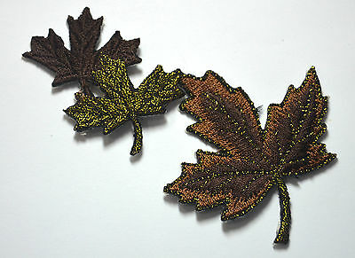 LEAVES AUTUMN MAPLE TRIMMING Embroidered Sew Iron On Cloth Patch Badge APPLIQUE