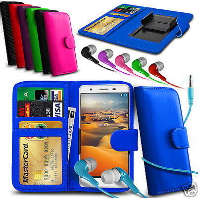 For BLU Studio C Super Camera - Clip On PU Leather Wallet Case & Earphone