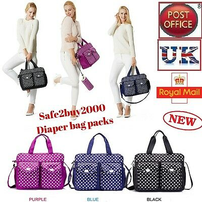 3pcs Baby Nappy Changing Bag Diaper Bag Set Black Fashion Shoulder Bag Dot 06