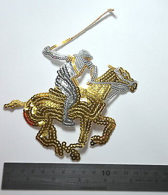 POLO PLAYER PONY SEQUIN GOLD SILVER Embroidered Sew On Patch Badge APPLIQUE