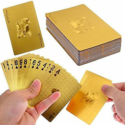 Super 24K Gold Foil Poker Vogue Style Lattice Grid Waterproof Playing Cards