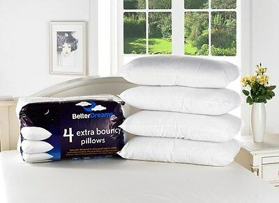 8 Pack Medium Luxury Extra Bouncy Bounce Back Fibre Filled Better Dreams Pillows