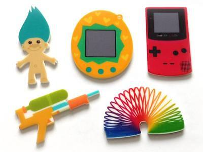 """Assorted Retro 90s Toys / Games - Large 2"""" Resin Plastic Cabochons - Exclusive"""