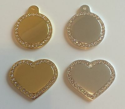 Engraved Pet ID Tag / Dog Tag - Large Silver / Gold Disc or Heart with Diamantes