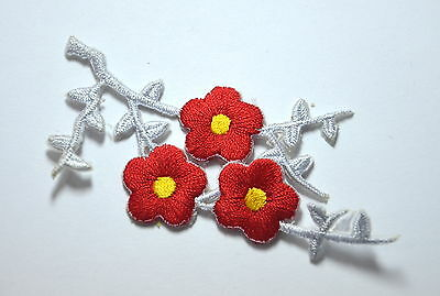 RED FLOWER SPRIG TRIMMING Embroidered Sew Iron On Cloth Patch Badge APPLIQUE