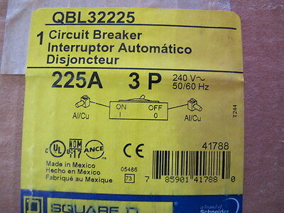 Square D, QBL32225, 3 POLE 225 AMP 240 VOLT Circuit Breaker   NEW