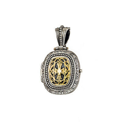 Gerochristo: Handmade Byzantine Locket Pendant Cross Silver and 18k Solid Gold
