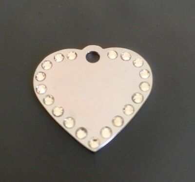 *SMALL* SILVER DIAMANTE HEART Engraved Cat / Dog / Pet ID tag GLAMOUR / BLING