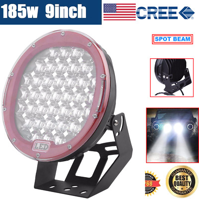 9inch 185W CREE LED DRIVING LIGHT OFFROAD ROUND SPOTLIGHT WORK AUTO LAMP 4WD