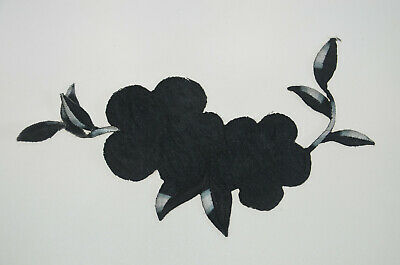 BLACK SILVER FLOWER TRIMMING Embroidered Sew Iron On Cloth Patch Badge APPLIQUE