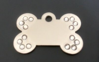 *SMALL* SILVER DIAMANTE BONE engraved Dog / Pet ID NAME tags GLAMOUR / BLING
