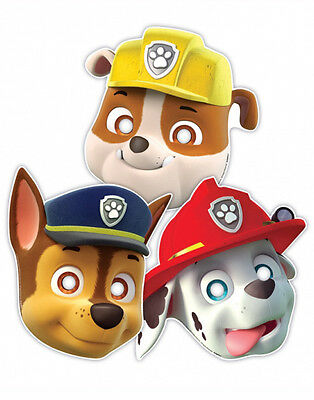 8 x Paw Patrol Chase & The Gang Birthday Party Face Masks