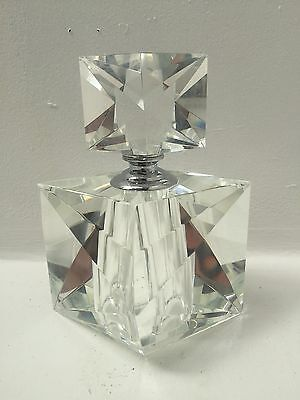 New clear crystal cut glass perfume bottle,screw stopper, silver metal neck 16cm
