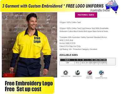 3  x HI VIS  Work shirts with Your Embroidered * FREE  LOGO  WORKWEAR  210