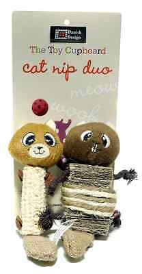 """DANISH DESIGN CHIP AND CHAP SMALL DUO PLUSH 6"""" CATNIP CAT TOY kitty soft toy"""
