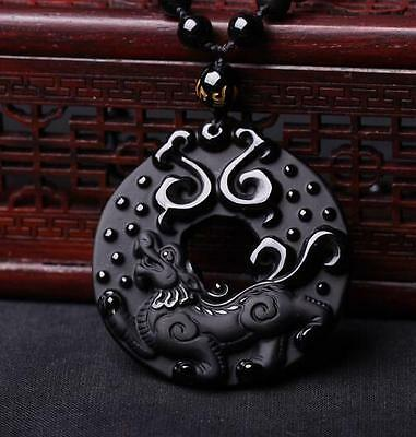 Natural Black Obsidian Hand Carved Dragon Blessing Lucky Pendant Necklace