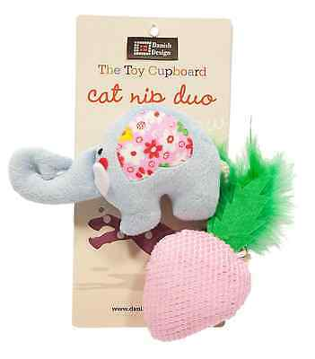 "Danish Design Nelly And Strawberry Small 4"" Plush Catnip Cat Kitty Toy"