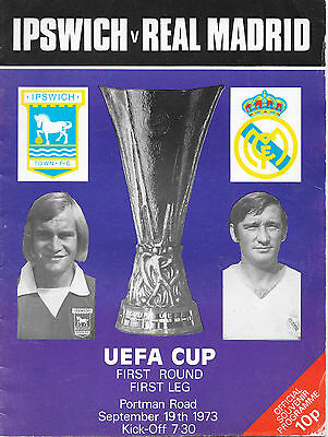 Ipswich v Real Madrid, 1973/74 - UEFA Cup 1st Round Match Programme.