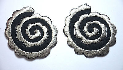 2pcs SILVER BLACK SPIRALS Embroidered Sew Iron On Cloth Patch Badge APPLIQUE