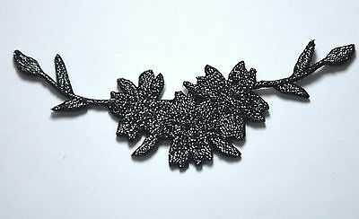 BLACK SILVER FLOWERS LEAVES Embroidered Sew Iron On Cloth Patch Badge APPLIQUE