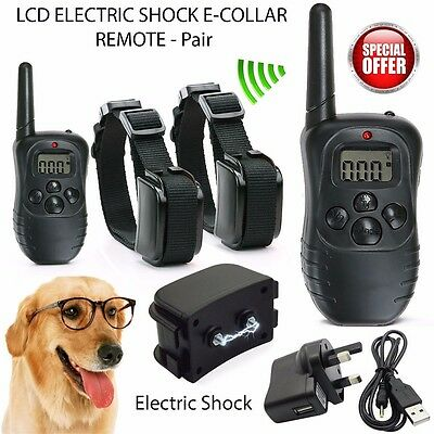 LCD Anti-Bark Electric Shock E-Collar 2 Dog Training Remote Control Rechargeable