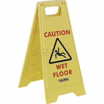 Global Industrial Floor Sign 2 Sided - Caution Wet Floor