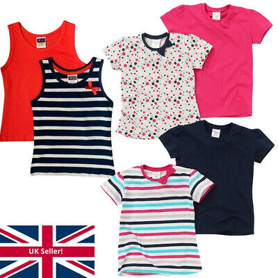 Just Essentials Girls 2 Pack T-Shirts Spot/Stripe/Plain Cotton Summer Holidays
