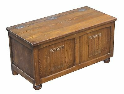 Oak Blanket Box Reproduction Antique Style with Carving and Decorative Hinges