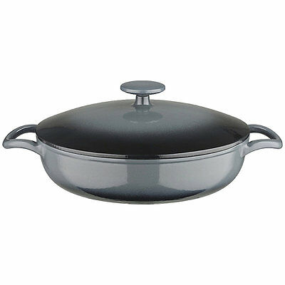 Lakeland 26cm Grey Ombre Round Shallow Cast Iron Casserole