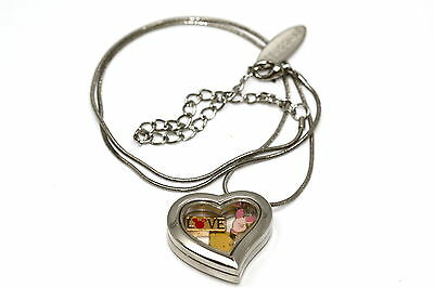 Disney Heart Locket Silver Necklace Floating Winnie The Pooh Piglet Love Charm