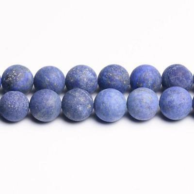 Strand Of 62+ Blue Lapis Lazuli 6mm Frosted Round Beads CB31196-2