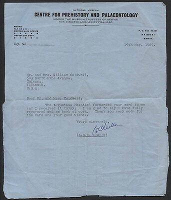 Louis S. B. Leakey - Typed Letter Signed 05/19/1967