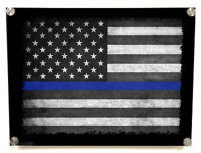 Thin Blue Line Flag Metal Wall Art Decor - with Matching 8x10 color print