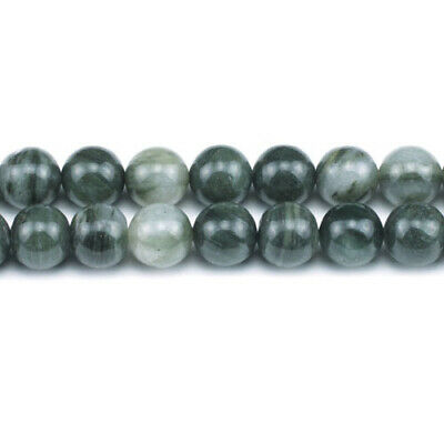 Strand 45+ Green African Jasper 8mm Plain Round Beads GS1626-3