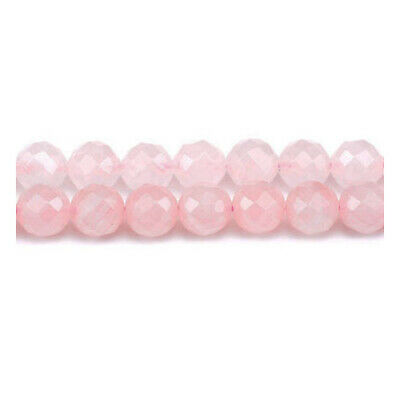 Rose Quartz Faceted Round Beads 8mm Pink 45+ Pcs Gemstones DIY Jewellery Making