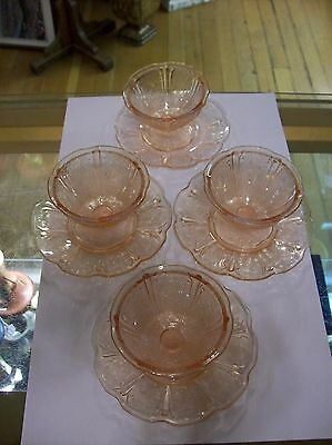 4 Vintage Jeanette Glass CHERRY BLOSSOM Pink Floral Footed Sherbets w / 3Plates