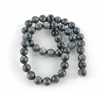 Larvikite Round Beads 8mm Black/Grey 45+ Pcs Gemstones Jewellery Making Crafts