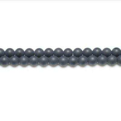 Strand Of 62+ Black Onyx 6mm Frosted Round Beads GS5624-2