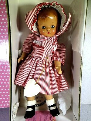 "Boxed Effanbee Doll Patsy Joan 15"" 1995 Red And White Striped Dress"