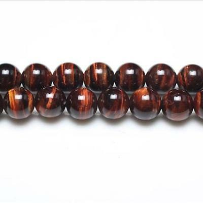 Strand Of 95+ Red/Brown Tiger Eye 4mm Plain Round Beads GS0378-1