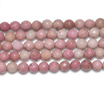 Strand Of 62+ Pink Rhodonite 6mm Faceted Round Beads GS2776-1