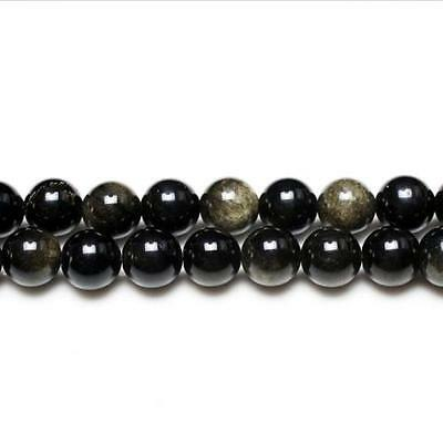 Strand Of 95+ Black/Golden Rainbow Obsidian 4mm Plain Round Beads GS2886-1