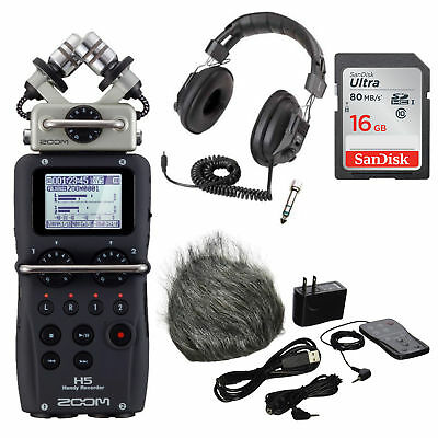 Zoom H5 Handy Recorder plus Accessory Pack for H5,16GB SD Card,Headphones Bundle