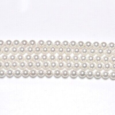 Strand Of 62+ White South Sea Shell Pearl 6mm Plain Round Beads GS1225-2