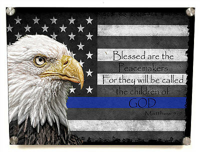 Blue Line Blessed Are Peacemakers Metal Wall Art Decor -with Matching 8x10 print