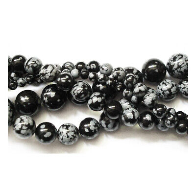 Snowflake Obsidian Round Beads 8mm Black/White 45+ Pcs Gemstones DIY Jewellery