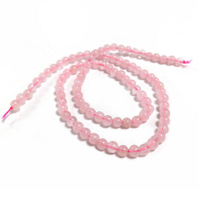 Rose Quartz Round Beads 4mm Pink 95+ Pcs Gemstones DIY Jewellery Making Crafts