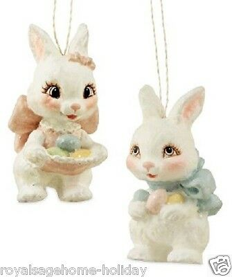 TD5015 Bethany Lowe Sweet Easter Bunny Ornament Decoration Spring Rabbit Bow