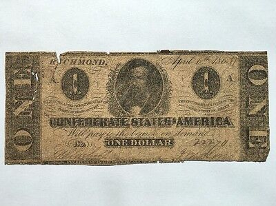 1863 Confederate States of America $1 One Dollar Bill Civil War Currency Note!