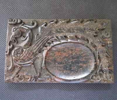 Chinese Antique culture old jade hand-carved phoenix Ink Stones L319